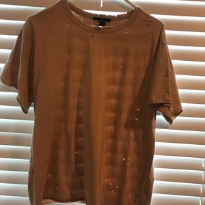 Peach colored distressed tee